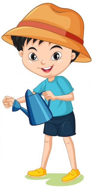 Boy with watering can Free Vector