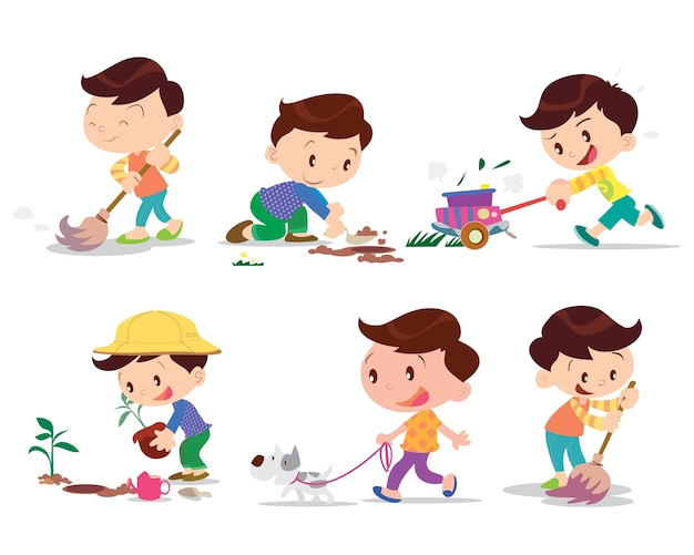 Boy working home  many action Premium Vector
