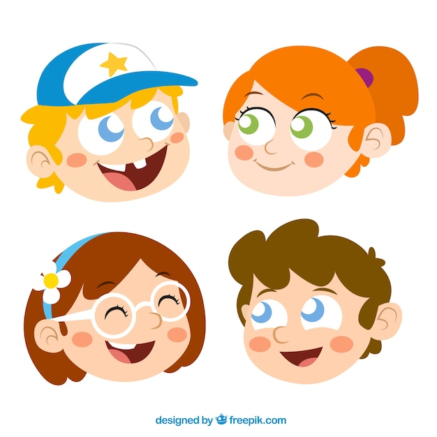 Boys and girls cartoon heads