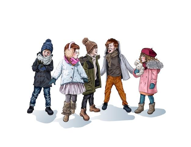 Мальчики и девочки, играющие на открытом воздухе зимой, эскиз изолированных женских и мужских персонажей. Premium векторы