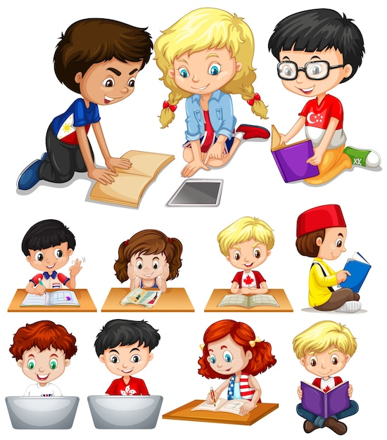 Boys and girls reading and studying illustration