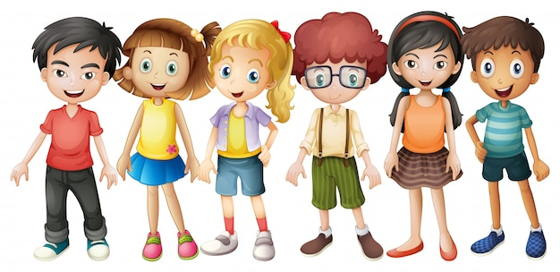 Boys and girls standing in group illustration Free Vector