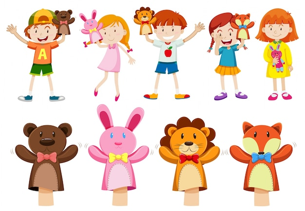 Boys and girls with hand puppets illustration Free Vector