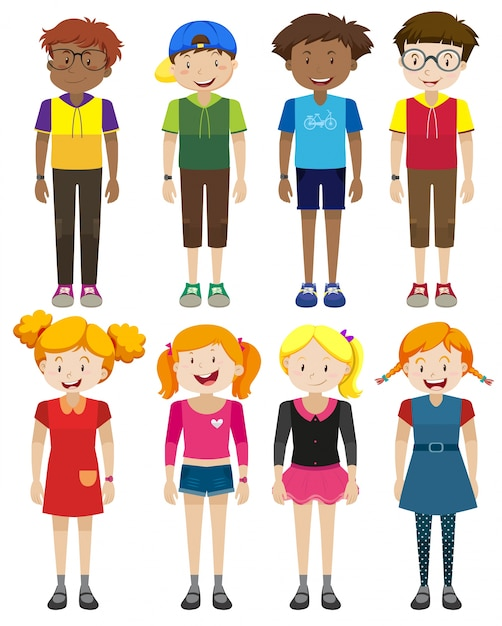 Boys and girls with happy face illustration