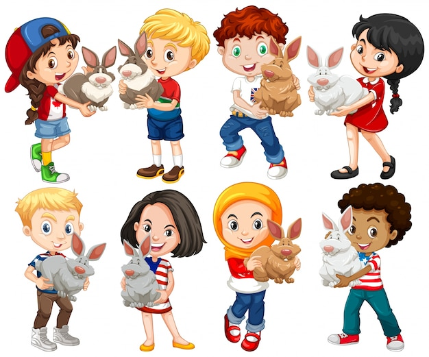 Boys and girls with rabbit pet illustration