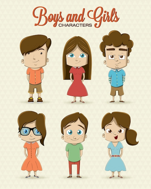 Boys and girls Free Vector