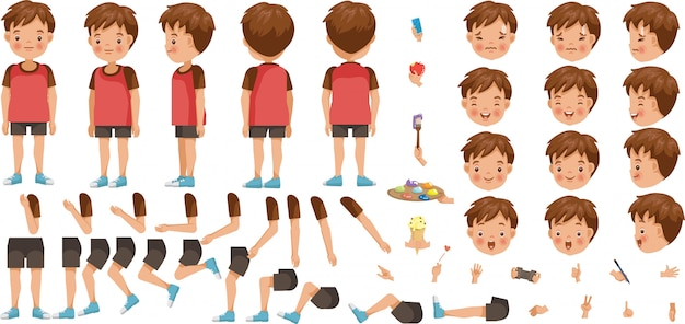 Boys character creation set. icons with different types of faces and hair style, emotions,  front, rear, side view of male person. Premium Vector