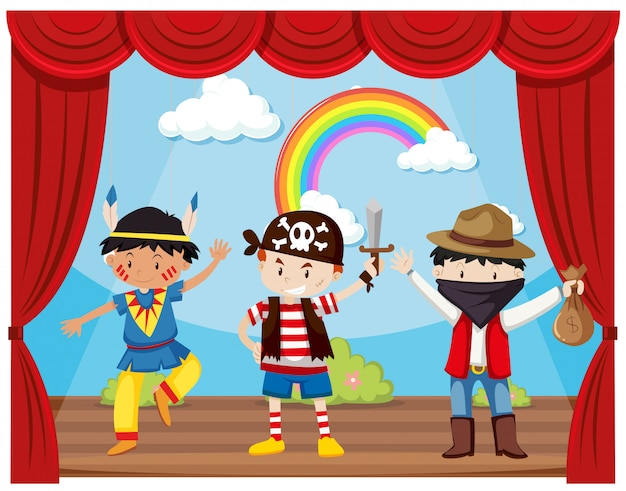Boys in costumes on stage Free Vector