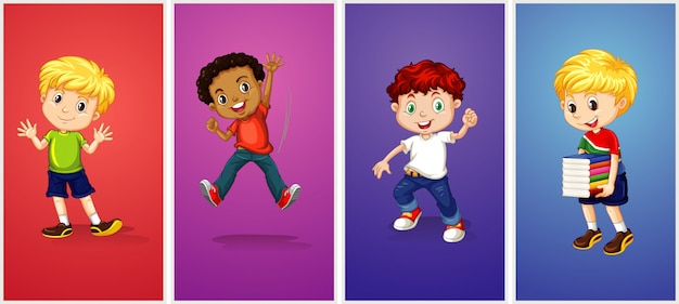 Boys on different color background Free Vector