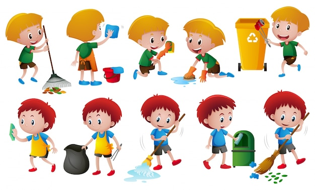 Boys doing different chores Free Vector