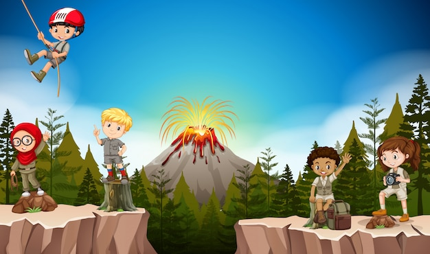 Boys and girls camping in the mountain Free Vector