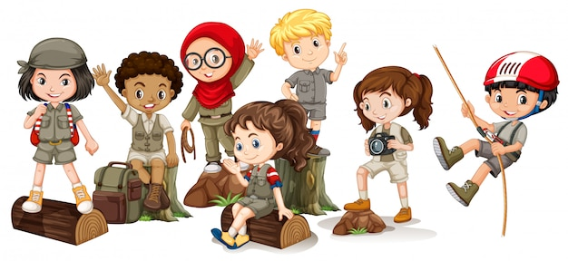 Boys and girls in camping outfit Free Vector