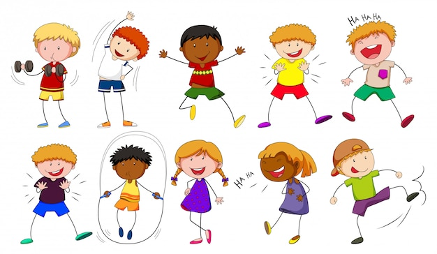 Boys and girls doing different activities Free Vector
