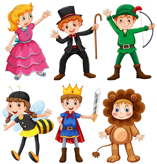 Boys and girls in fancy costumes Free Vector