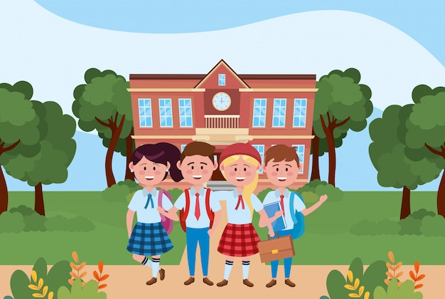 Boys and girls kids of school Free Vector
