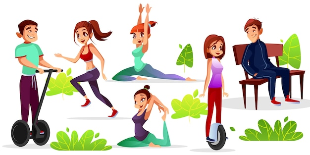 Boys and girls leisure illustration of teens sport and recreation in outdoor park. Free Vector