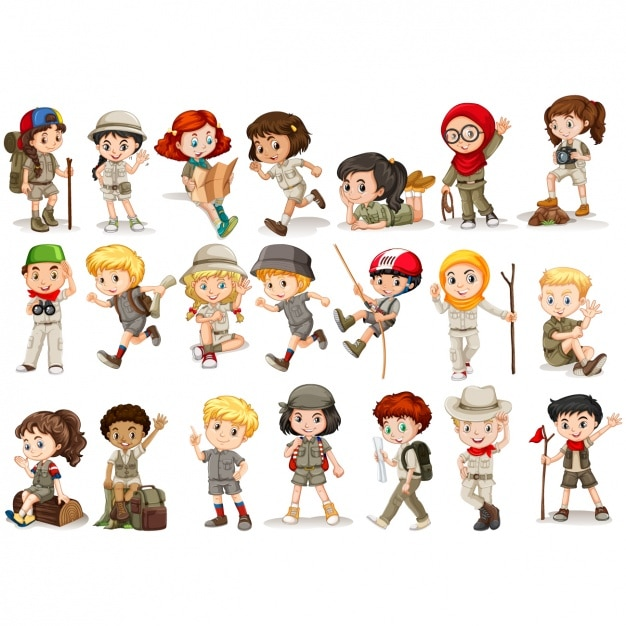Boys and girls scouts collection Premium Vector