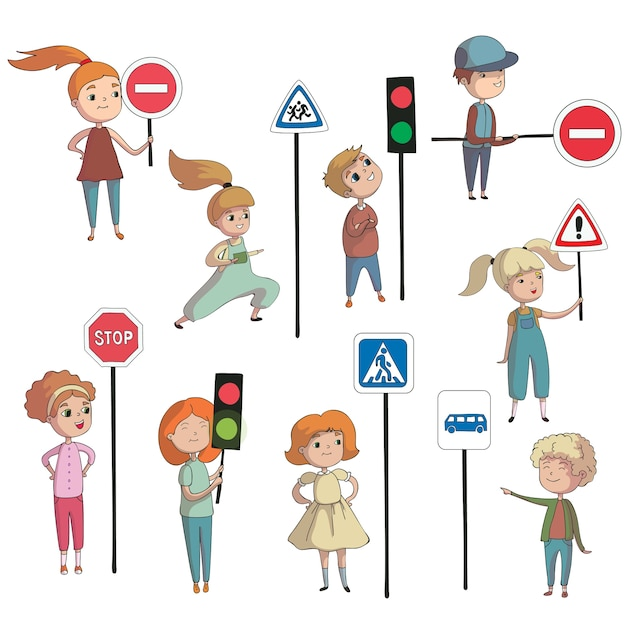 Boys and girls next to various traffic signs and traffic lights.  illustration on white background. Premium Vector