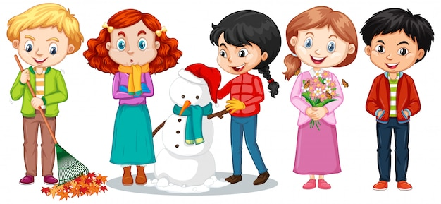 Boys and girls in winter clothes Free Vector