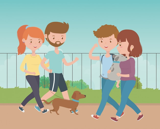 Boys and girls with dogs Free Vector