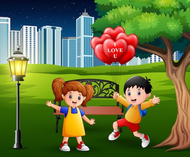 Boys giving girls red a heart shaped air balloons Premium Vector