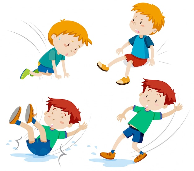 Boys having different types of accidents Free Vector