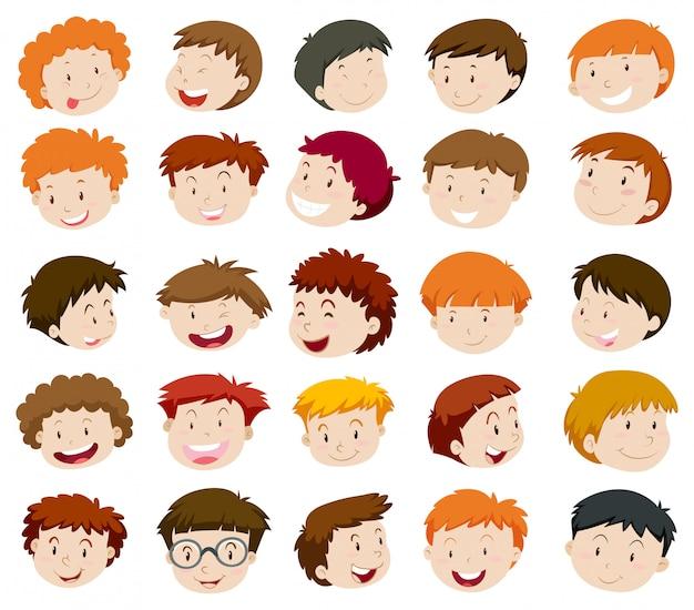 Голова мальчика со счастливым лицом Бесплатные векторы