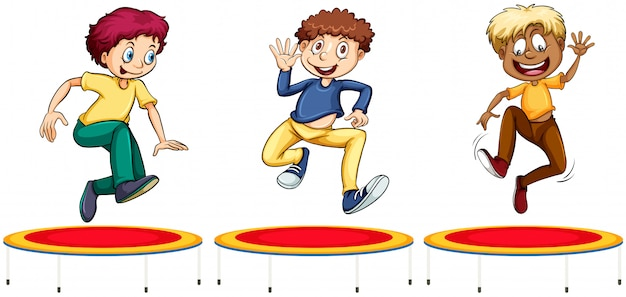 Boys jumping on the trampolines Free Vector
