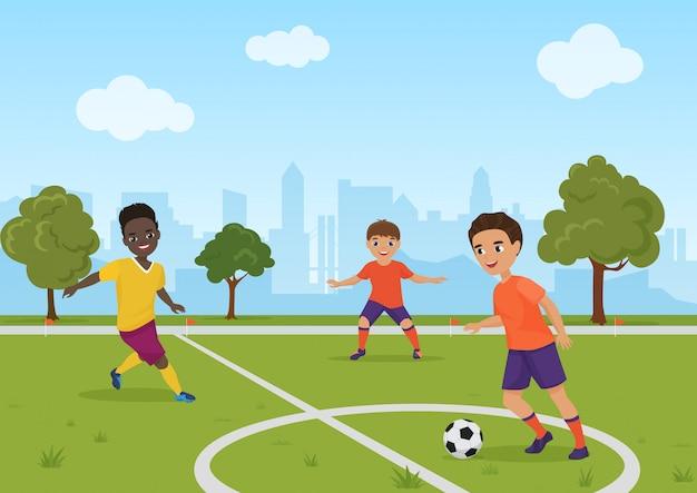 Мальчики дети играют в футбол футбол. иллюстрации. Premium векторы