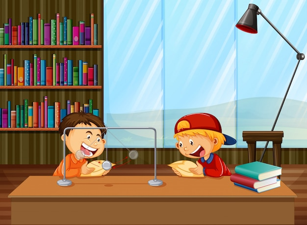 Boys learning in library Free Vector