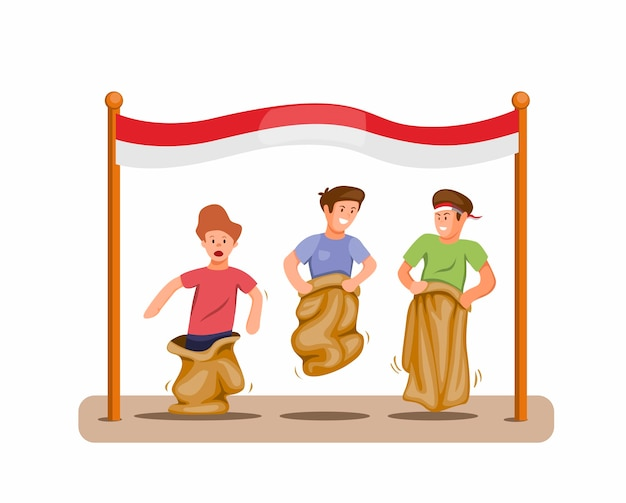 Boys play sack race competition to celebration indonesian independence day in 17 august concept in cartoon illustration vector isolated Premium Vector
