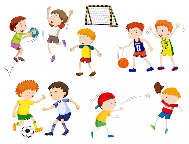 Boys playing different sports\ illustration