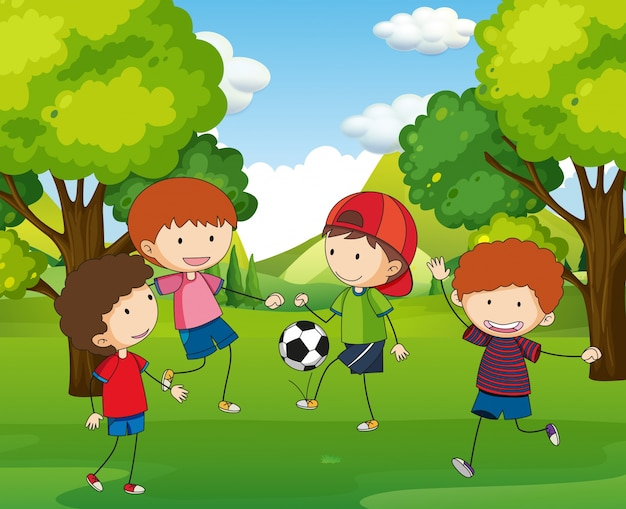 Boys playing football in the park Free Vector