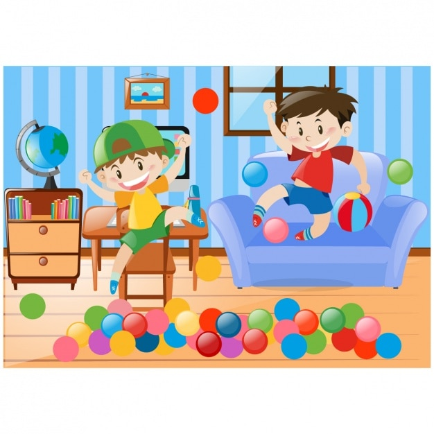 Boys Playing In The Living Room Vector Free Download