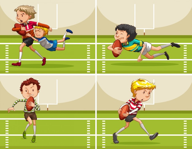 Boys playing rugby in the field Free Vector