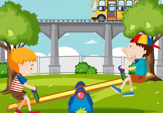 Boys playing seesaw in the park Free Vector
