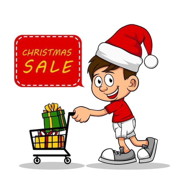 Boys pushing shopping cart buy christmas gifts at christmas sale at ...