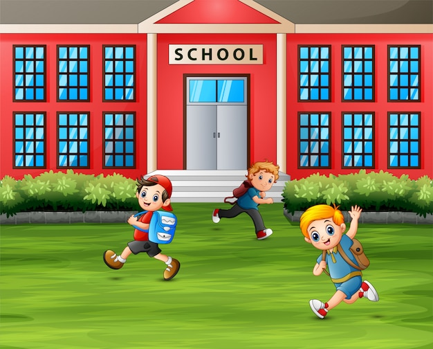 Boys running in front of the school Premium Vector