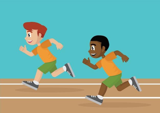 Premium Vector | Boys running a race track.