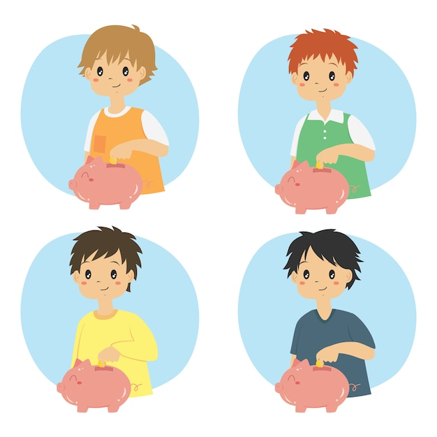 Boys saving money in a cute pink piggy bank vector set Premium Vector