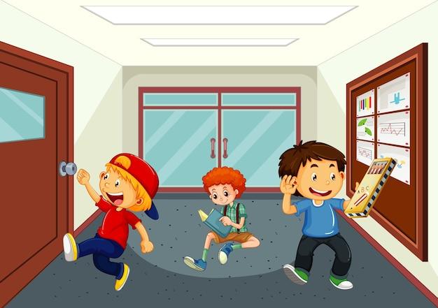 Boys at school hallway Free Vector