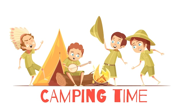 Boys scouts summer camp activities retro cartoon poster with playing indian and singing campfire songs Free Vector