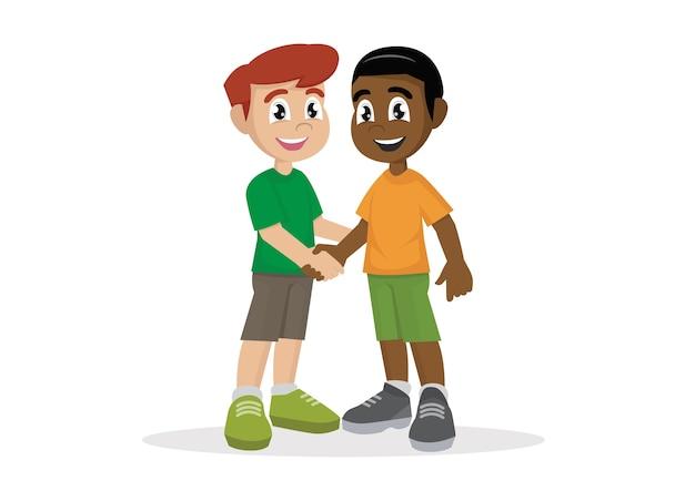 Boys shaking hands. Premium Vector