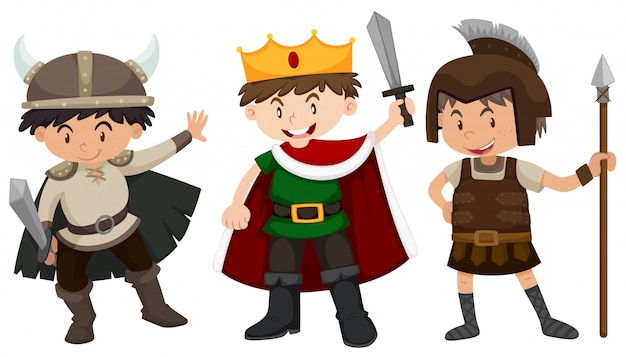 Boys in soldier and prince outfit Free Vector