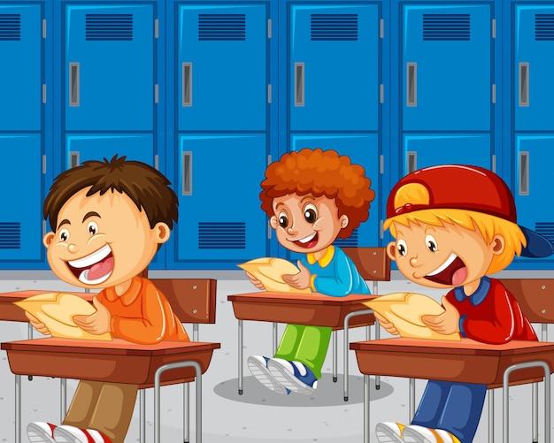Boys taking the exam Free Vector
