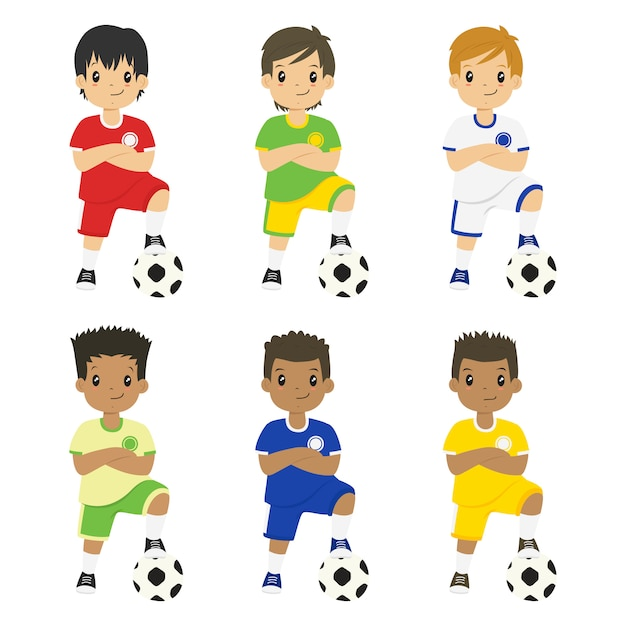 Boys wearing soccer jersey with different colors vector set Premium Vector