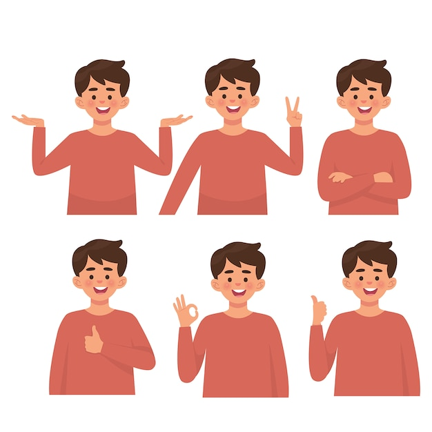Boys with various poses, set vector Premium Vector