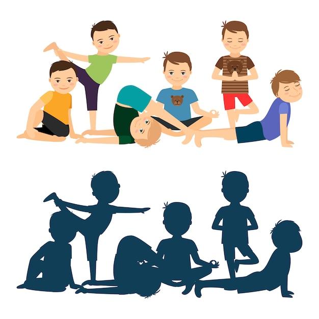 Обучение йоге мальчиков Premium векторы