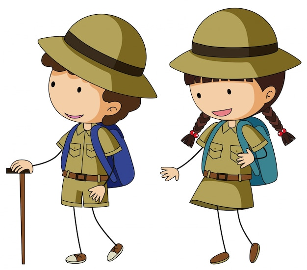 Boyscout and girlscout in brown uniform Vector | Free Download