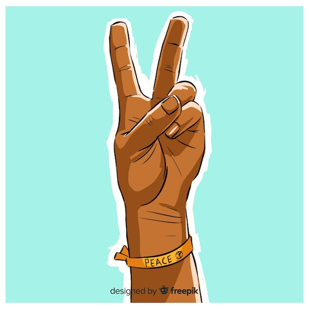 Bracelet hand peace sign background Free Vector